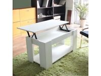 Modern White Wooden Coffee Table . Lift Top.Fully assembled .Brand New . Can Deliver.