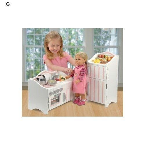 American girl doll kitchen set ebay for Kitchen set doll