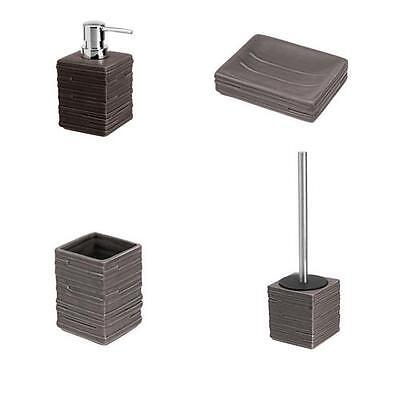 Set accessori bagno da appoggio in ceramica grigia e abs cromato linea Brik