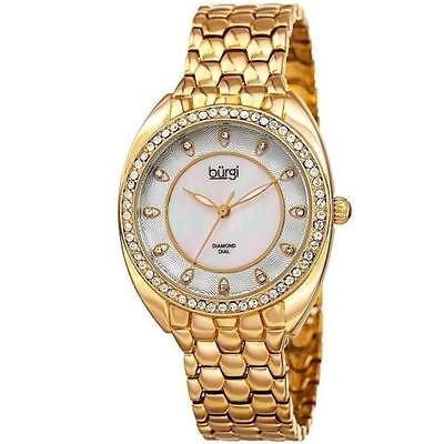 Burgi BUR145 Gold Tone Diamond Dial Swarovski Crsystal Bezel Women's Watch $465