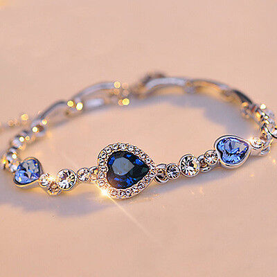 Fashion Charm Women Ocean Heart Blue Crystal Rhinestone Bangle Bracelet Gift