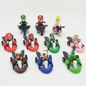 New 10PCS Super Mario Brother Kart Pull Back Car Bike Figure Toys Gift