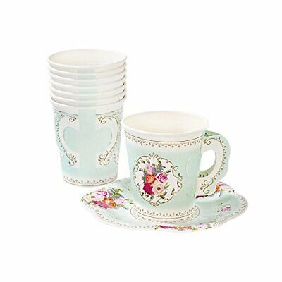 Talking Tables Truly Scrumptious Vintage Floral Paper Tea Cups with Handles and  - Paper Tea Cups With Handles