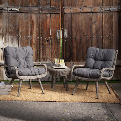 Garden Furniture - Wicker Patio Set 3 Piece Outdoor Garden Furniture Chairs Table Cushion Pool Deck