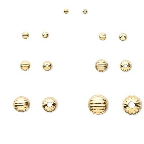 100 Shiny Gold Plated Brass Corrugated Round Spacer Jewelry Beads Small - Big