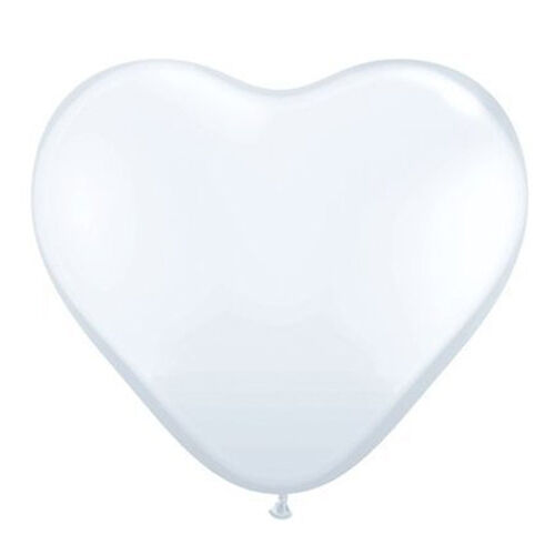 White 6' Latex Hearts Balloons x 5 - Qualatex BF