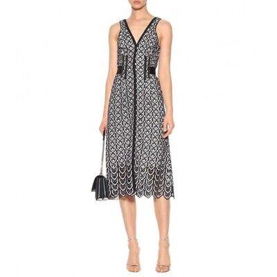 - self portrait sweetheart crochet Sleeveless Midi Lace Grosgrain-trimmed dress