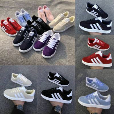 UKFashion Striped Womens Mens Trainers Ladies Lace Up Sports Pumps Running Shoes
