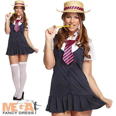 School Girl St Trinians Ladies Fancy Dress British Uniform Womens Adults Costume