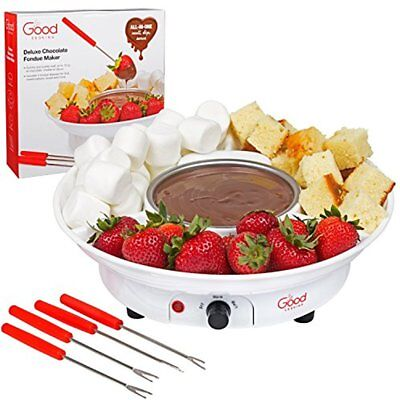 Electric Fondue Pots Chocolate Maker- Deluxe Dessert Fountain Set With Forks And