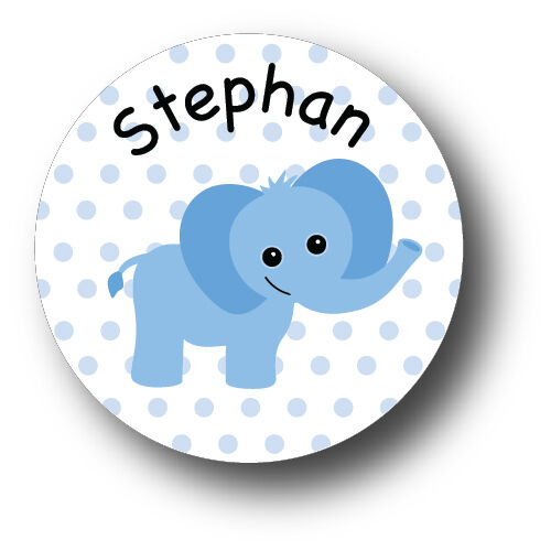 30 Baby Blue Elephant Baby Shower Invitation Favor White Stickers