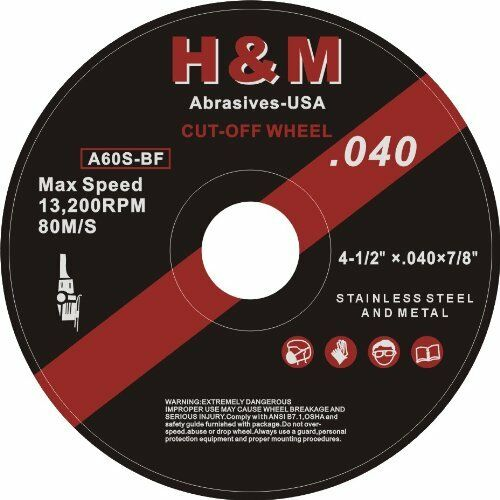 "100 4-1/2"" x .040"" x 7/8"" H&M ABRASIVE Cut-off Wheel Angle Grinder Cutting tool"