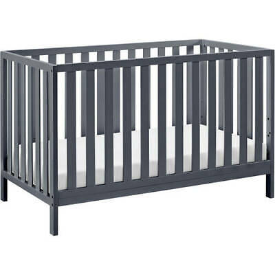 Baby Crib 4-in-1 Convertible Gray Wood 3 Position Adjustable