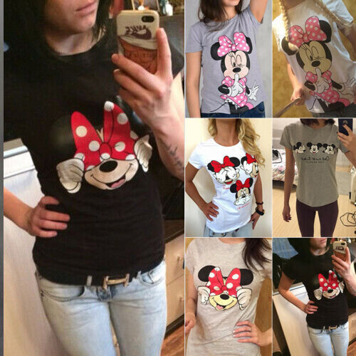 Damen Mickey Minnie Mouse Muster Kurzarm T-Shirt Freizeit Oberteile Blusen Tops