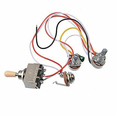details about electric guitar wiring harness kit 3 way toggle switch 1  volume 1 tone 500k pot