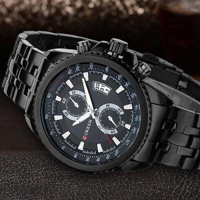 Steel Date Display (CURREN Men's Quartz Stainless Steel Date Display Waterproof Luxury Wrist)
