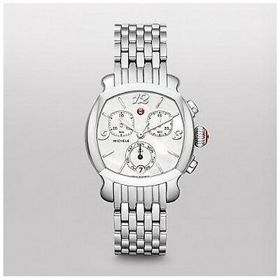 NEW Michele Lilou Silver Stainless Steel Chronograph MOP Watch MWW22A000006 NIB