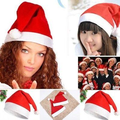 10 Pack Christmas Hats Plush Soft Ultra Thick Santa Claus Adults Xmas Red Cap yu