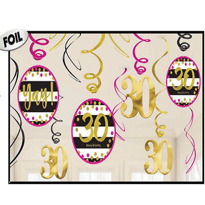 30th Birthday Swirl Decorations ~Pink and Gold Thirtieth Birthday Party Supplies - Pink And Gold Birthday Party Supplies