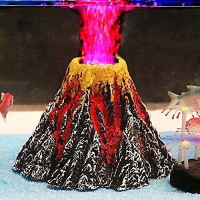 Aquarium Volcano Ornament Decorations Fish Tank Decor with Air Bubbler Stone
