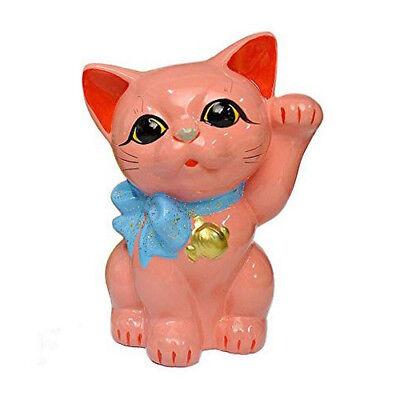 Tokoname Ware Lucky Cat 6.3'' Ribbon Maneki Neko (Sakura Pink) *VAT includes* ()
