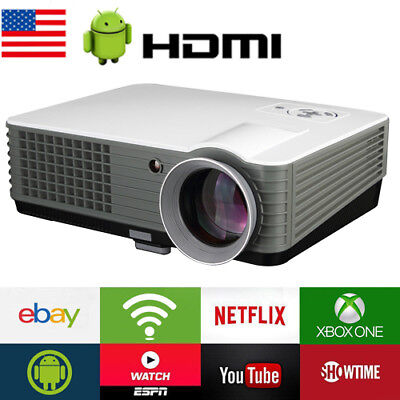 4500lms WIFI HD LED Home Theater Projector Movie Video USB HDMI 1080p UP TO 200'