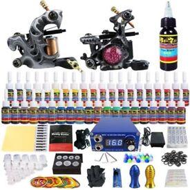 Tattoo Kit 2 Machine Set Power Supply 40 Ink