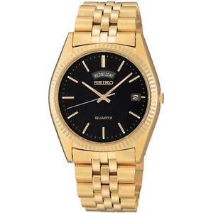 mens gold tone watch men s seiko gold tone watch