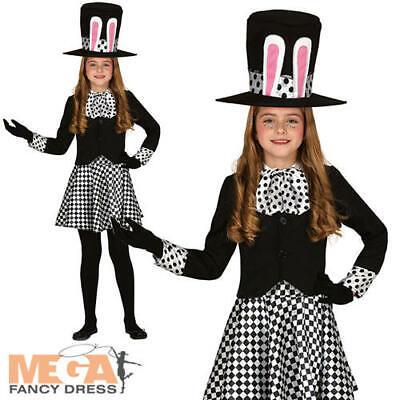 Crazy Hatter Girls Fancy Dress Dark Wonderland Fairy Tale Kids Halloween Costume