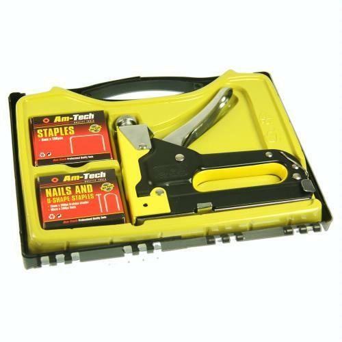 3 IN 1 INDUSTRIAL STAPLE GUN SET MANUAL UPHOLSTERY TACKER & 600 FREE STAPLES
