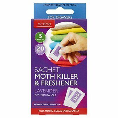 Acana Moth Killer & Lavender Freshener Sachets 20 Per Pack Kills Moth...