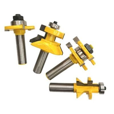 4 Pcs Yg6 Alloy Tongue   Groove And V Notch Router Bit Set For Cnc 1 2  Shank
