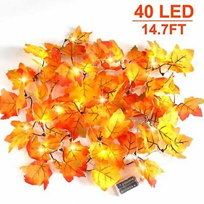 CPPSLEE Thanksgiving Decorations Lighted Fall Leaf Garland - 40 LED