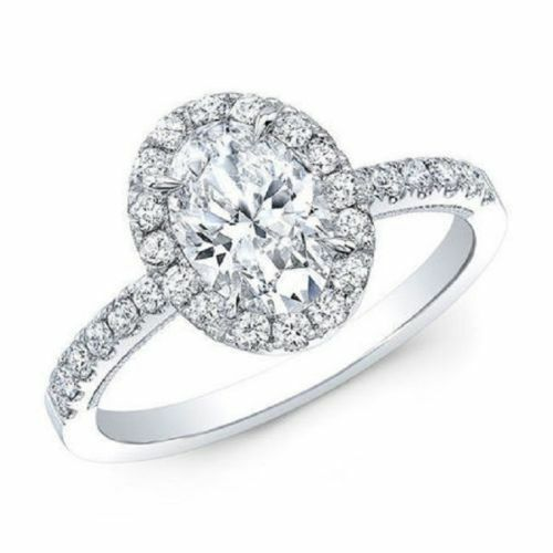 1.85 Ct. Oval Cut Halo Natural Diamond Engagement Ring Pave D, VVS2 GIA Cert 14k 1