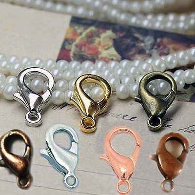 Lobster Clasps Gold Silver Bronze Rose Gunmetal Copper White K Plated 10 - 18mm - Copper Gold Clasps