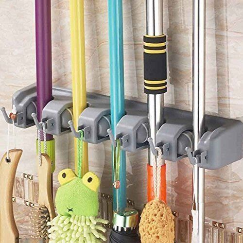 Wall Mounted Non Slide Broom Mop Holder Home Kitchen Storage Bathroom Hanger