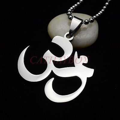 Stainless Steel Hinduism Yoga Aum Om Shanti Charm Necklace Pendant 24  Chain New