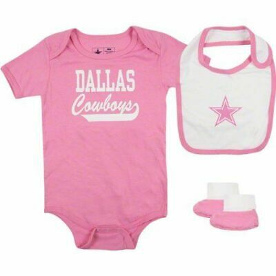 Baby Girl Dallas Cowboys (24M Baby Girl Infant Dallas Cowboys PINK One pc Creeper Outfit Bib Booties)