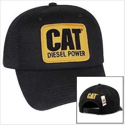 Caterpillar Diesel Power CAT Equipment Vintage Black Mesh Retro Style Cap Hat