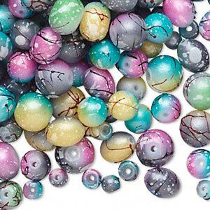 Lot Of 600 + Multi Colored Assorted Glass Beads Different Size And Shapes