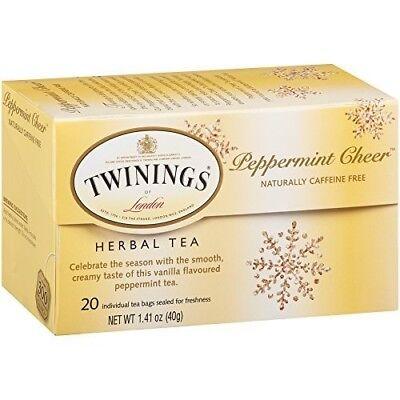 TWININGS LONDON 1 x PEPPERMINT CHEER HERBAL TEA, CAFFEINE FREE, 20 TEA (Twinings Caffeine Free Tea)