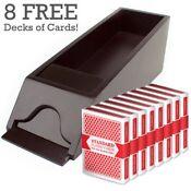 8 Deck Wooden Blackjack Dealer Shoe & 8 Decks of Playing Cards Value Bundl