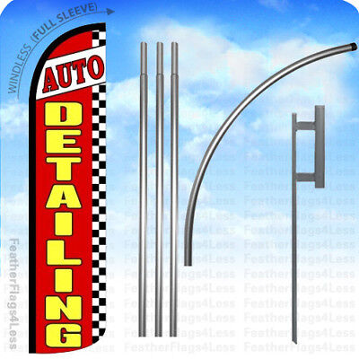 Auto Detailing -windless Swooper Flag 15 Kit Feather Banner Sign - Checkered Rz