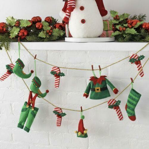 Raz Imports Elf Clothes and Candy Cane Garland Approx 6 ft long (FREE SHIPPING)