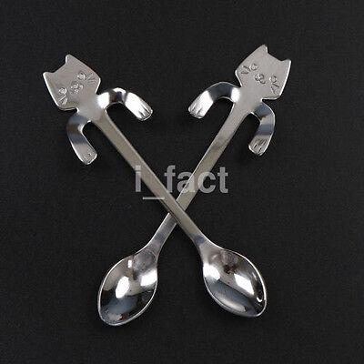 1X Cat Stainless Steel Ice Cream Cocktail Tea Coffee Soup Spoon Mini Teaspoon US