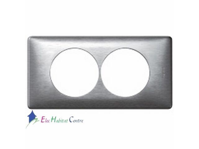 Plaque double anodisé Céliane aluminium entraxe 57mm Legrand 68928