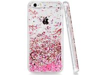 """iPhone 7 4.7"""" Pink falling floral clear design includes screen protector brand new!"""