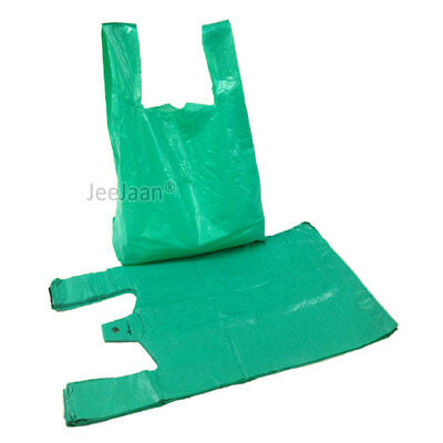 100 GREEN VEST STYLE CARRIER BAGS PLASTIC POLYTHENE 11