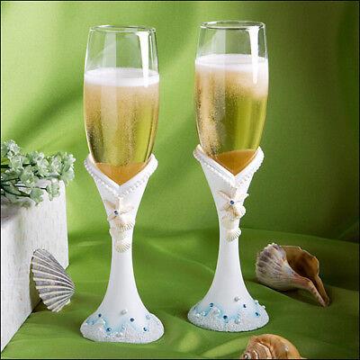 Wedding Toasting Flutes Beach Heart Sand Sea Wedding Glasses (Heart Toasting Glasses)