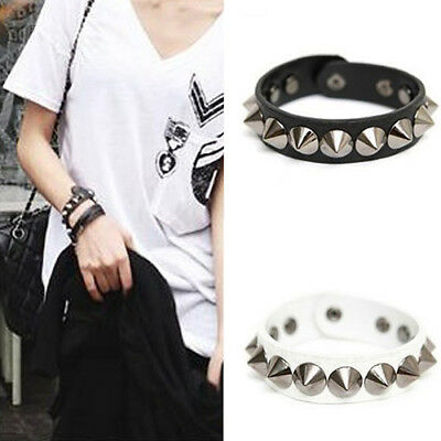 Punk Gothic Faux Leather Rivet Stud Spike Bracelet Cuff Bangle Wristband - Spiked Bracelet